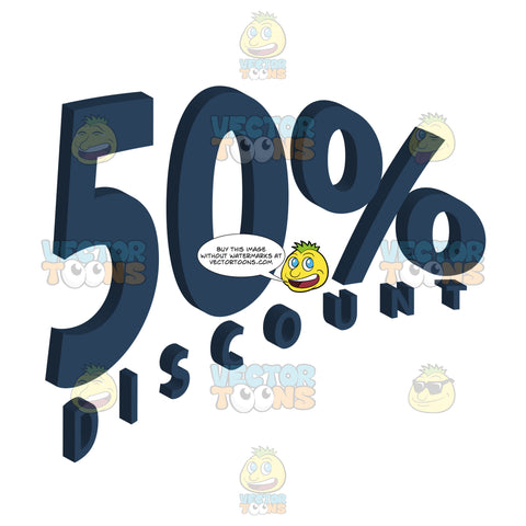 50 Percent Discount Upwards Sloped Blue Words Store Ad