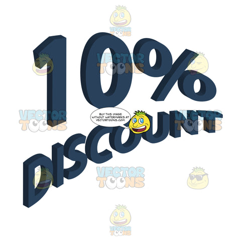 10 Percent Discount 3d Curved Words In Blue