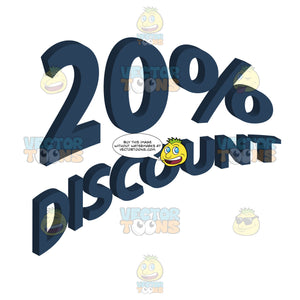 20 Percent Discount 3d Arched Effect Words In Dark Blue