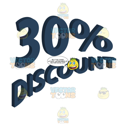 30 Percent Discount In Dark Blue Angled Words With 3d Drop Shadow Effect