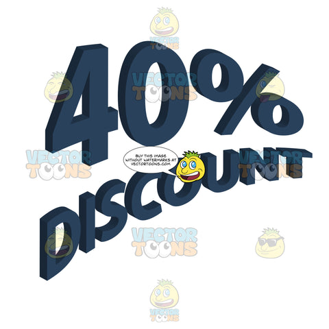 40 Percent Discount Upwards Angled Words With 3d Drop Shadow Effect In Dark Blue