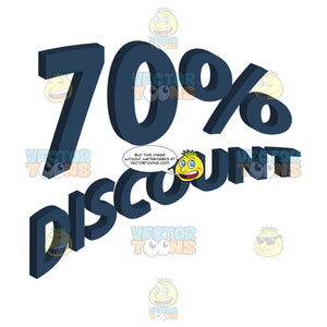 70 Percent Discount Upwards Angled Words With 3d Drop Shadow Effect In Dark Blue