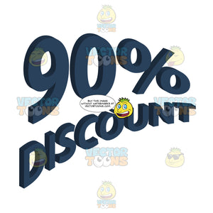 90 Percent Discount Upwards Angled Words With 3d Drop Shadow Effect In Dark Blue