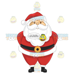 Traditional Looking Santa Claus With Hands Behind His Back