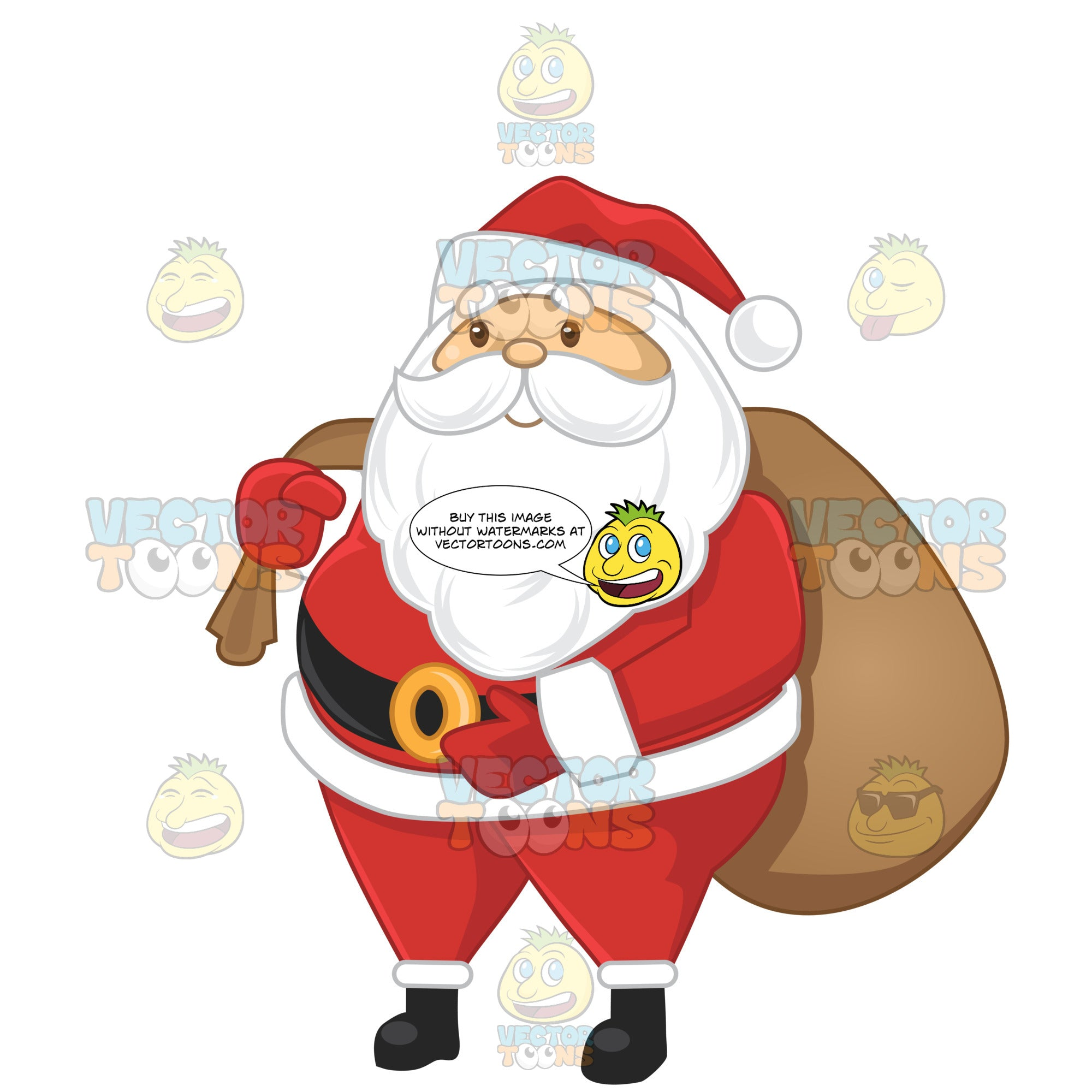 Santa Carrying A Brown Sack