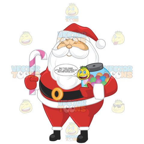 Santa Claus Carrying A Candy Cane And A Jar Of Candy