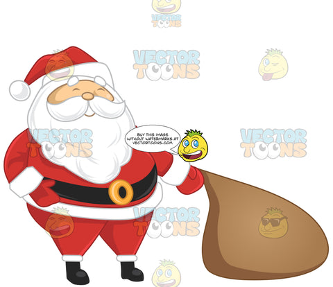 Santa Claus Pulling A Sack On The Floor