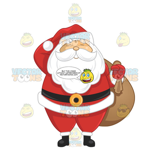 Happy Santa Claus Holding A Large Sack Over His Shoulder