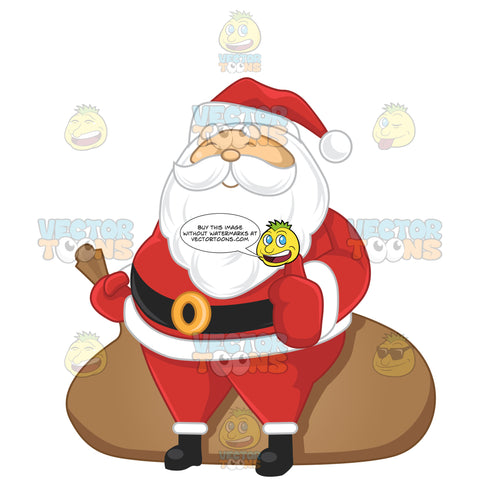 Santa Claus Standing In Front Of A Large Sack Giving The Thumbs Up