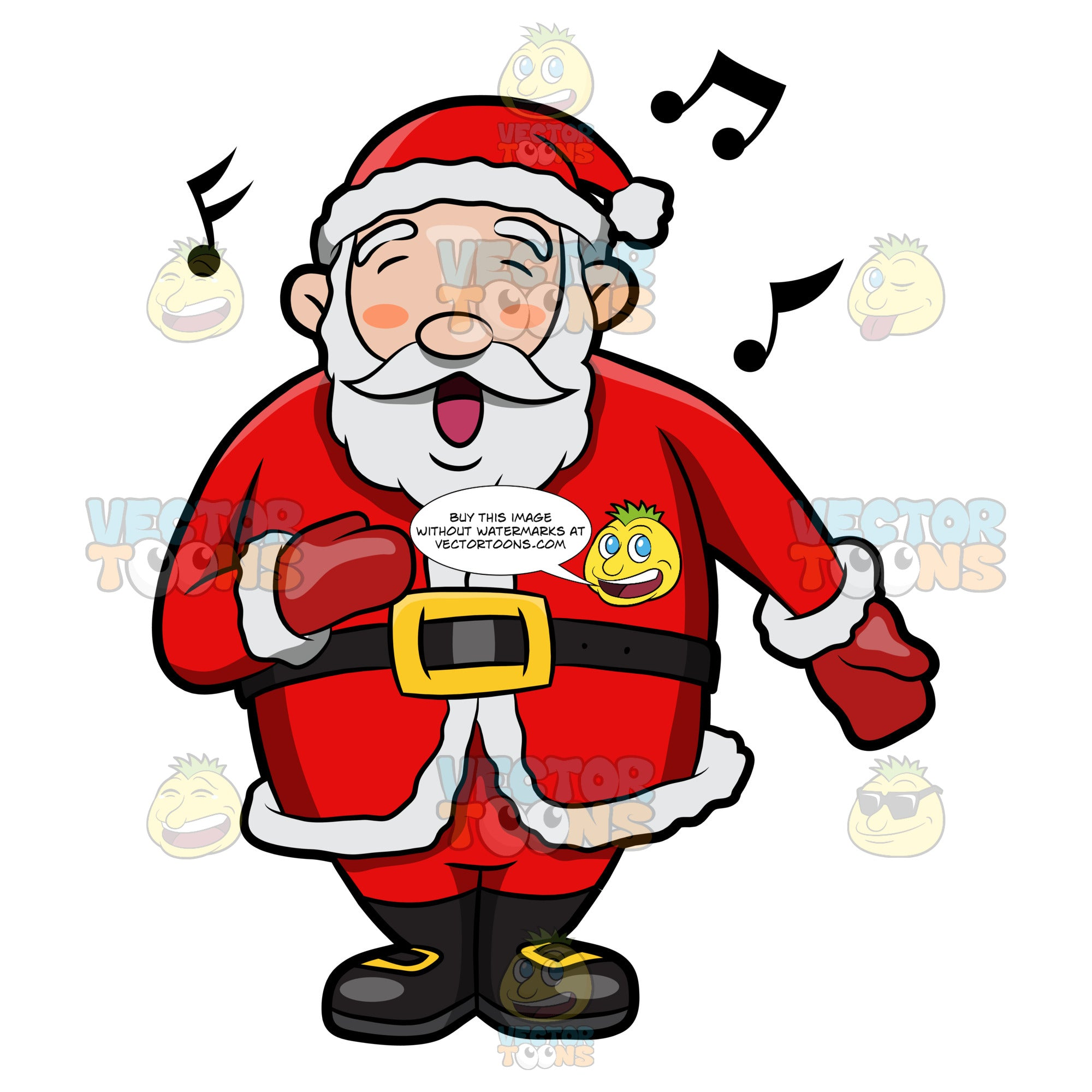 A Jolly Santa Claus Singing In Delight