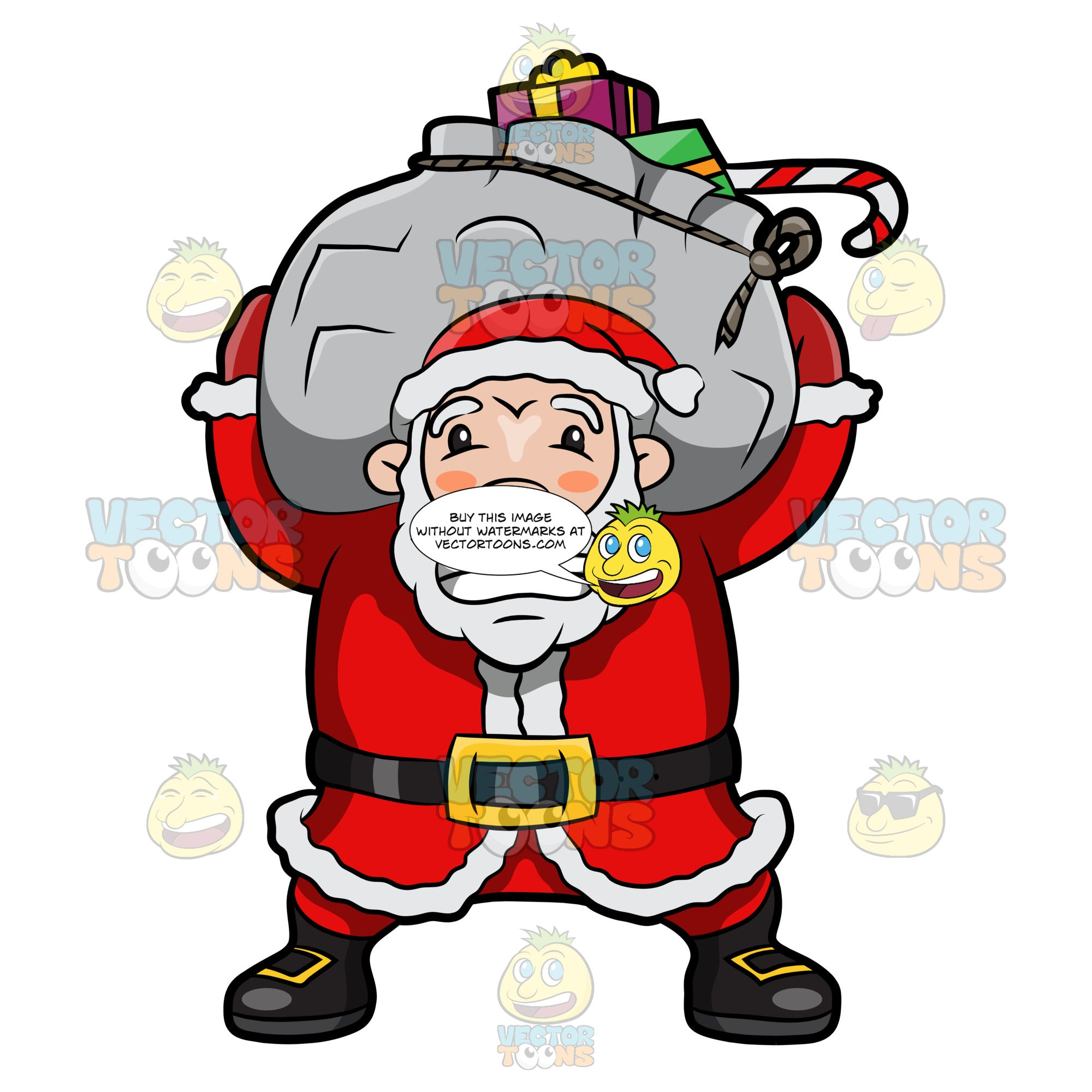 Santa Claus Having A Hard Time Lifting A Very Heavy Sack Of Gifts