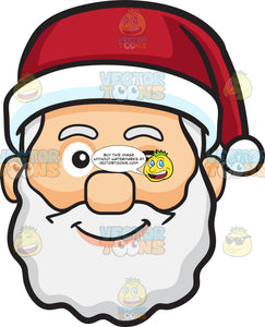 A Winking Face Of Santa Claus