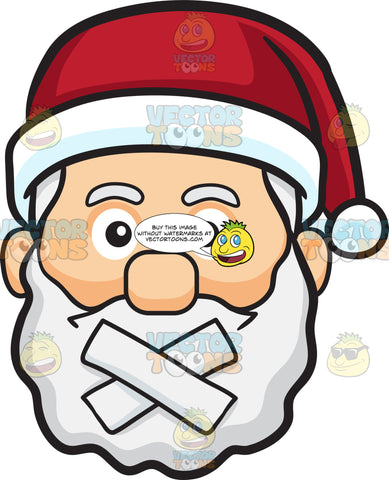 A Face Of Santa Claus With Taped Mouth