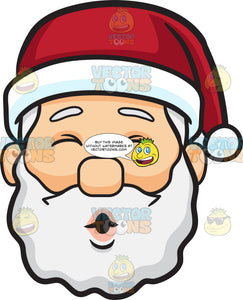 A Face Of Santa Claus Blowing Kisses