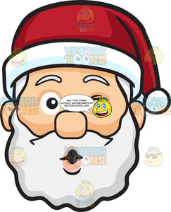 A Winking Face Of Santa Claus Blowing Some Kisses