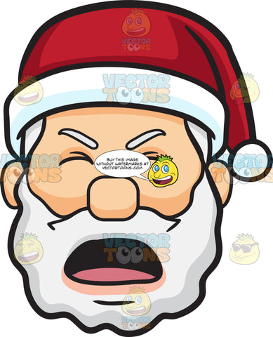 A Face Of Santa Claus In Pain