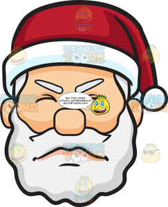 An Irritated Face Of Santa Claus