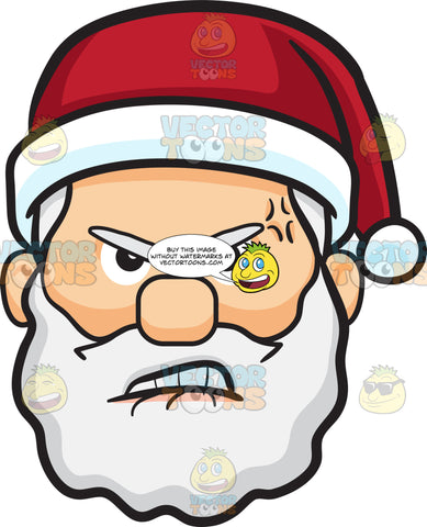 A Furious And Hurt Face Of Santa Claus