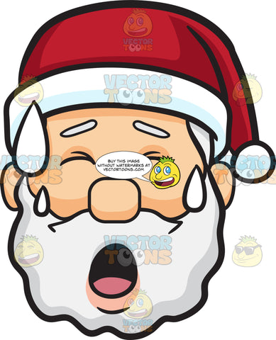 A Face Of Santa Claus Sweating In Pain