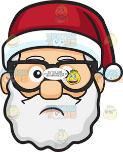 A Sad Face Of Santa Claus In Eyeglasses