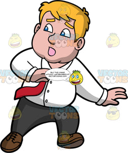 Sam Looking Over His Shoulder And Running From Something. A man with dark blond hair and blue eyes, wearing black pants, a white dress shirt, red tie, and brown shoes, looking frightened and running away something