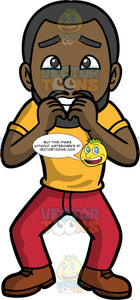 Calvin Biting His Nails Out Of Fear. A black man with a beard, wearing red pants, a yellow shirt, and brown shoes, looking terrified of something and biting his nails