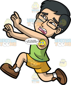 Simon Running Away From Something Scary. An Asian man wearing yellow shorts, a green tank top, brown shoes, and eyeglasses, running away with a scared look on his face