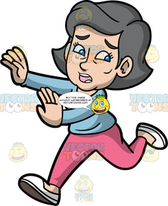 Mary Running Away With A Scared Look On Her Face. A mature woman with gray hair and blue eyes, wearing pink pants, a light blue shirt, and white shoes, running away from something scaring her