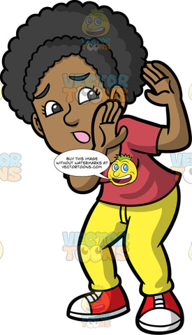 Jackie Holding Her Hands Up To Protect Herself. A black woman wearing yellow pants, a wine colored shirt, and red and white sneakers, standing and holding her hands up by her face protecting herself from something frightening