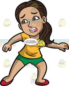 Isabella Frightened Of Something. A Hispanic woman wearing green shorts, a yellow shirt, and red shoes, turning to run away from something frightening her