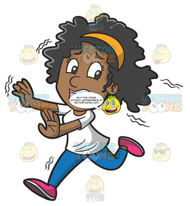 A Fearful Black Woman Running Away From Something