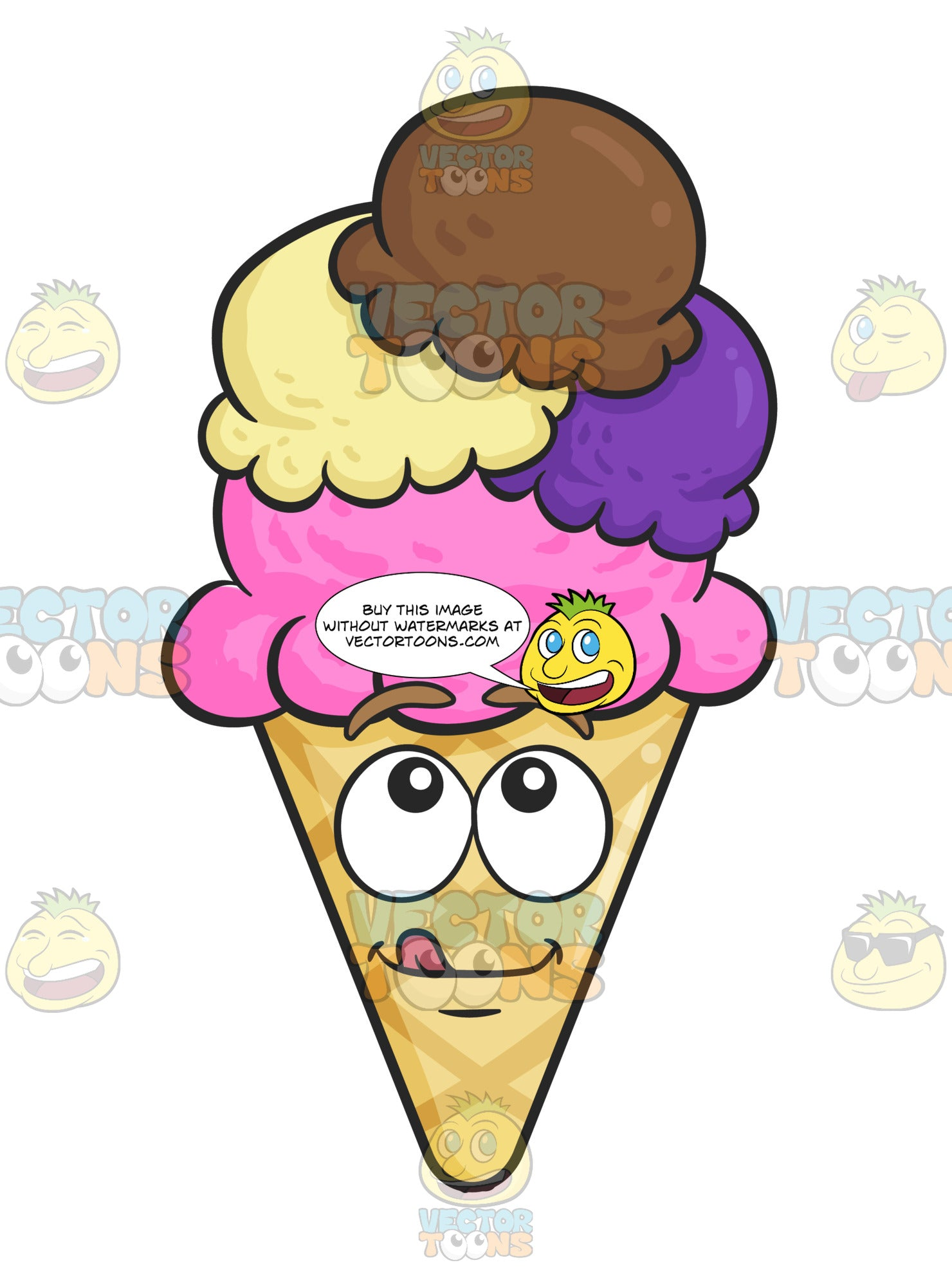 Scoops Of Ice Cream On Cone With Delighted Look On Face