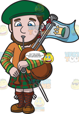A Scottish Clansman Playing A Bagpipe