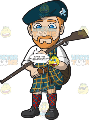 A Scottish Clansman Carrying A Gun Over His Shoulder