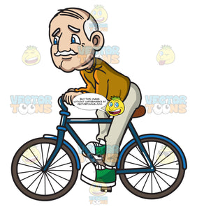 A Grandpa Riding A Bicycle