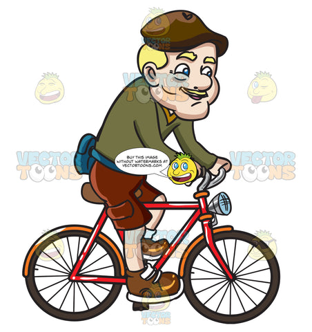 A Groovy Grandpa Riding A Bike