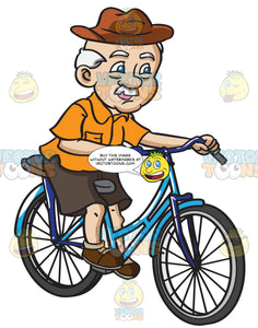 A Grandpa With A Hat Rides A Bicycle