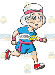 A Sporty Grandma Jogging Happily