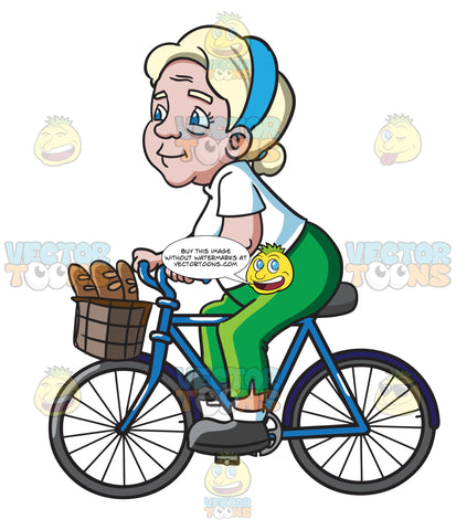 A Female Senior Citizen Rides A Bike To Buy Some Baguettes