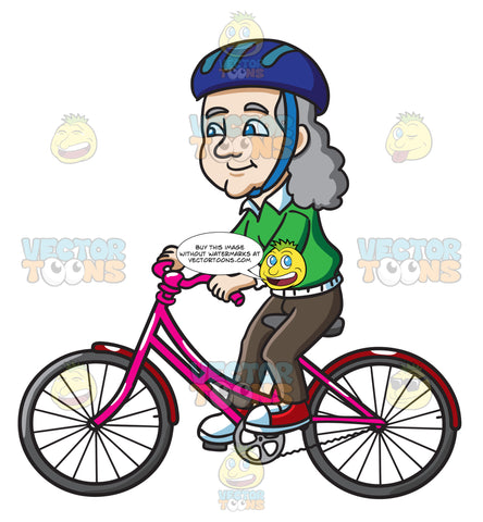 A Female Senior Citizen Riding A Bike With Delight
