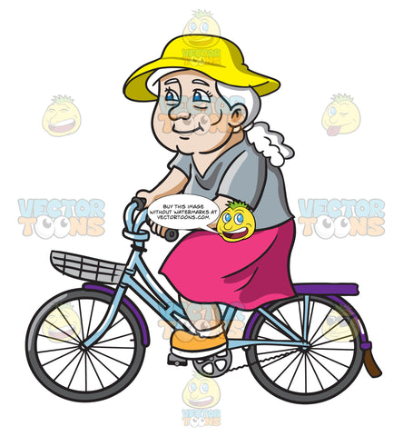 A Female Senior Citizen Spends Her Day In A Bike