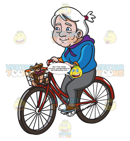 A Female Senior Citizen Having A Great Day While Riding A Bike