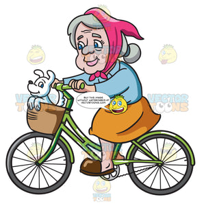 A Female Senior Citizen Enjoying A Bike Ride With Her Dog