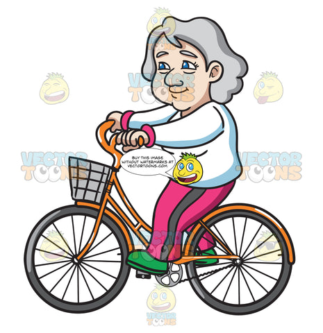 A Female Senior Citizen Enjoying A Bicycle Ride