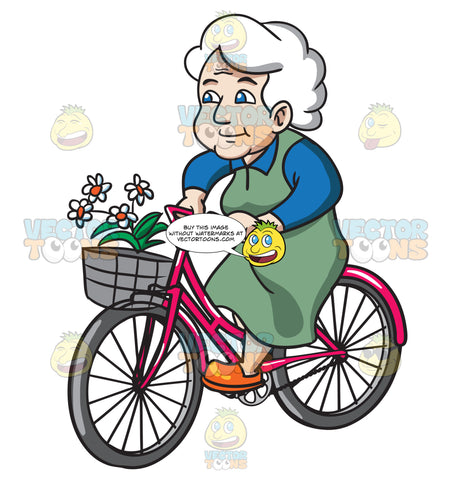 A Female Senior Citizen Biking With Flowers