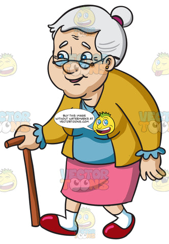 A Smiling Female Senior Citizen With Glasses