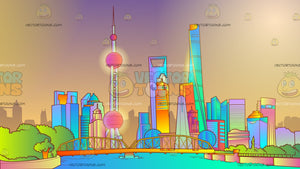 Shanghai Skyline Background