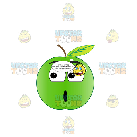 Shocked Green Apple Looking Towards The Its Right Emoji