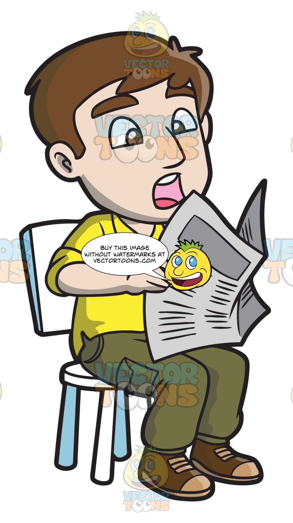 A Shocked Man Reading News From The Newspaper - Clipart ...