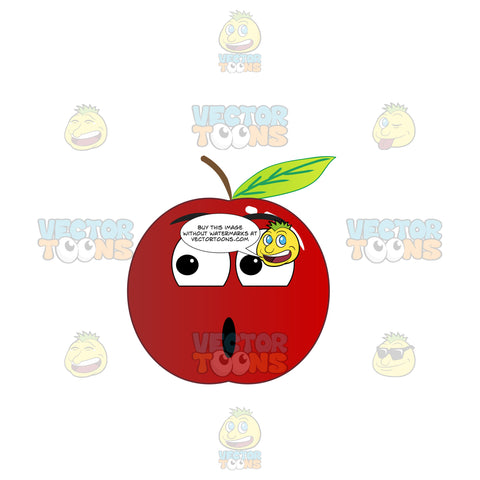 Shocked Red Apple Looking Towards The Its Right Emoji